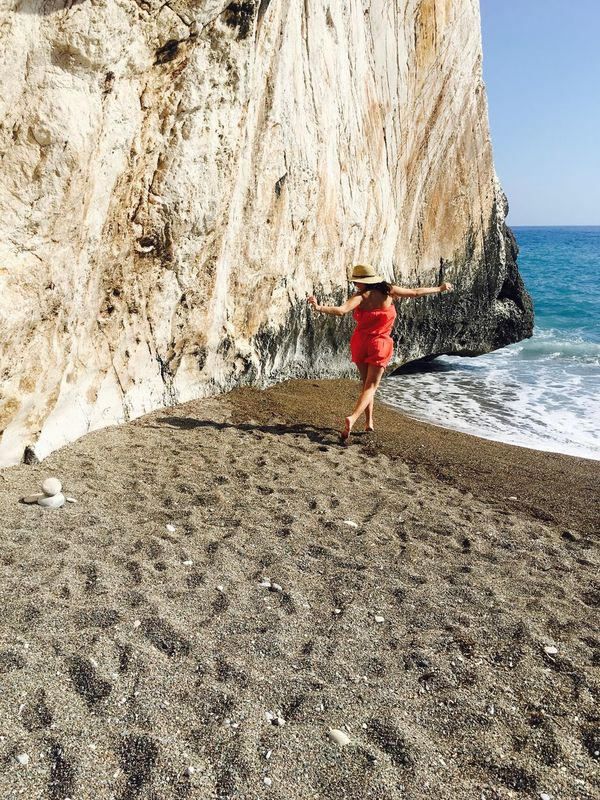 Cyprus Jump Rock Beach Beachphotography Beauty In Nature Full Length Jumpshot Nature One Person One Woman Only Outdoors Rock - Object Sea Travel Destinations Vacations Water Women Young Women
