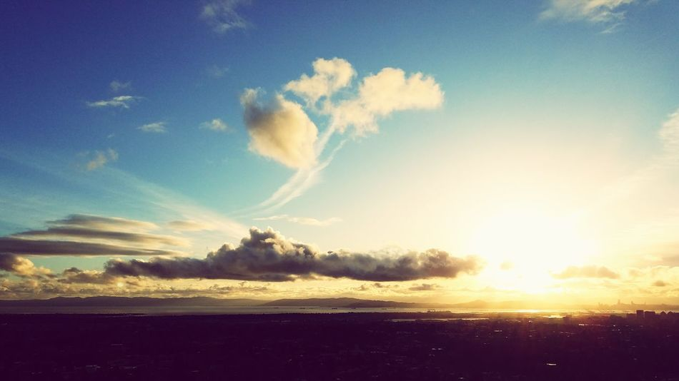 Scenics Cloud - Sky Sun Outdoors Beauty In Nature Sunset Sky Landscape Blue View From The Top Oakland, Ca.