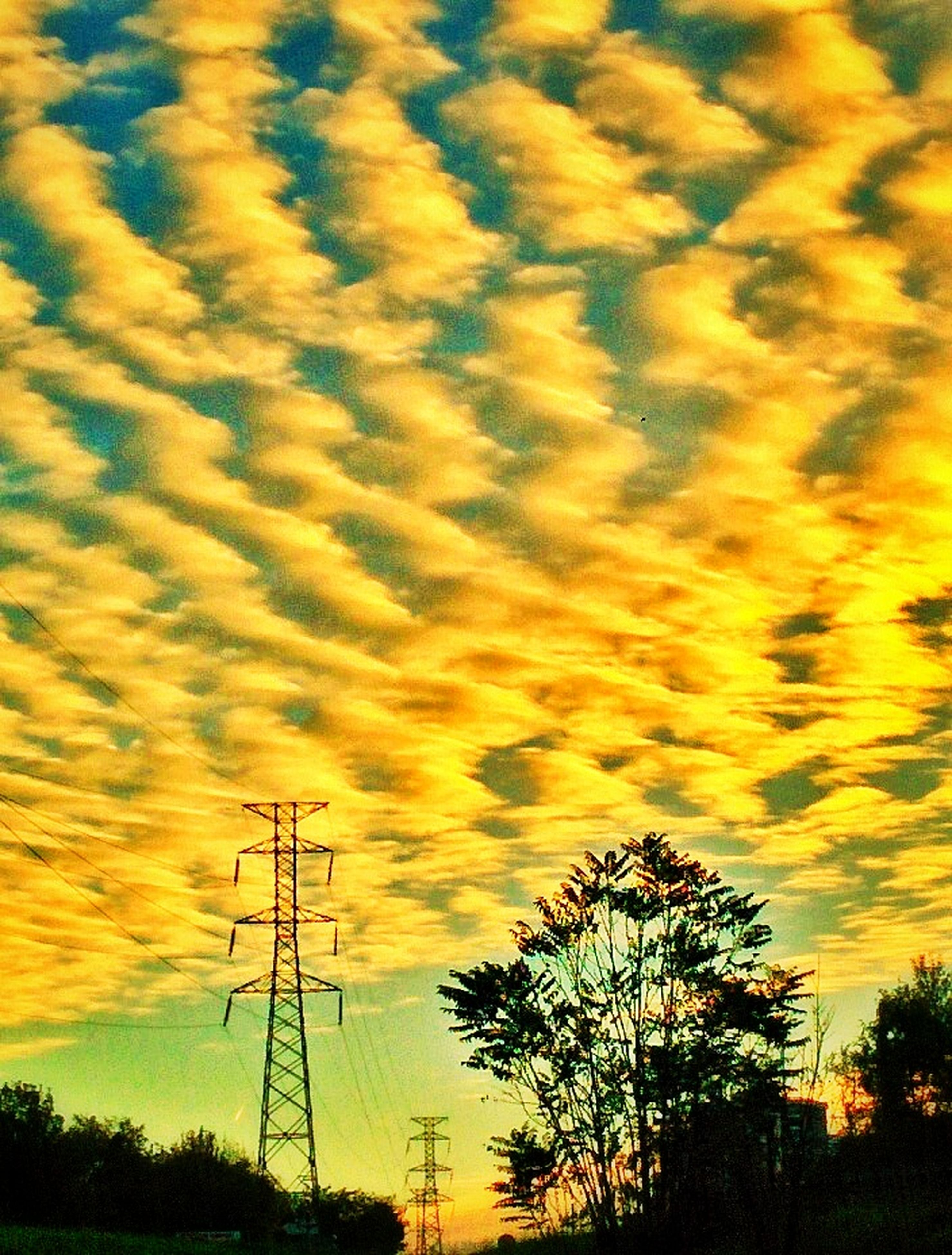 sunset, sky, silhouette, orange color, beauty in nature, tranquility, scenics, cloud - sky, tranquil scene, tree, dramatic sky, nature, low angle view, cloud, cloudy, power line, idyllic, electricity pylon, landscape, moody sky