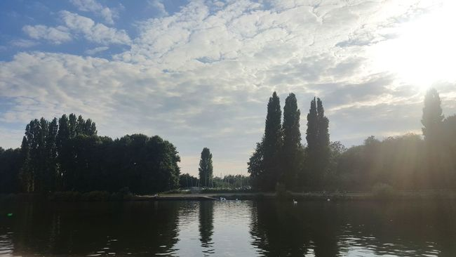 Calm View Trees Sun Landscape Boat Nature Riverside Fine Art Photography Life Ripples In The Water Ripples River River Thames United Kingdom Kingston Upon Thames London Kingston Beauty In Nature 43 Golden Moments Sunshine Sun