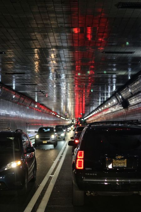 through the Lincoln Tunnel Car Night Illuminated Transportation Land Vehicle No People Outdoors Reflection NYC Street Photography Traffic Jam Newyork Newjerseybound