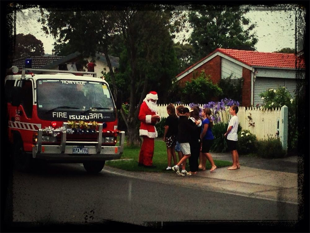 today was the day Santa came to our court .. made for excited & happy children