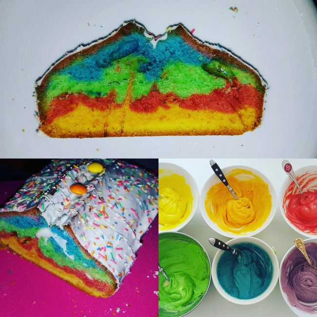 Selfmade Rainbow Cake Formybest Farbgefühle Farbgefühle Festival Colors Purple Blue Green Red Orange Yellow Birthday