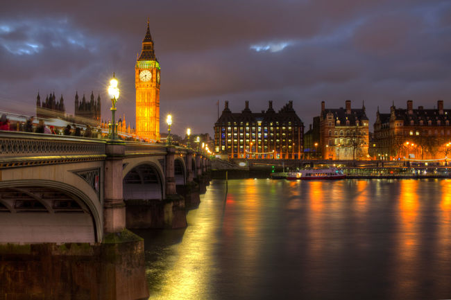 Arch Arch Bridge Architecture Big Ben Bridge - Man Made Structure Building Exterior Built Structure City City Life Clock Tower Cloud - Sky Connection Engineering Famous Place Houses Of Parliament Illuminated Night Reflection River Sky Tourism Tower Travel Destinations Water Waterfront