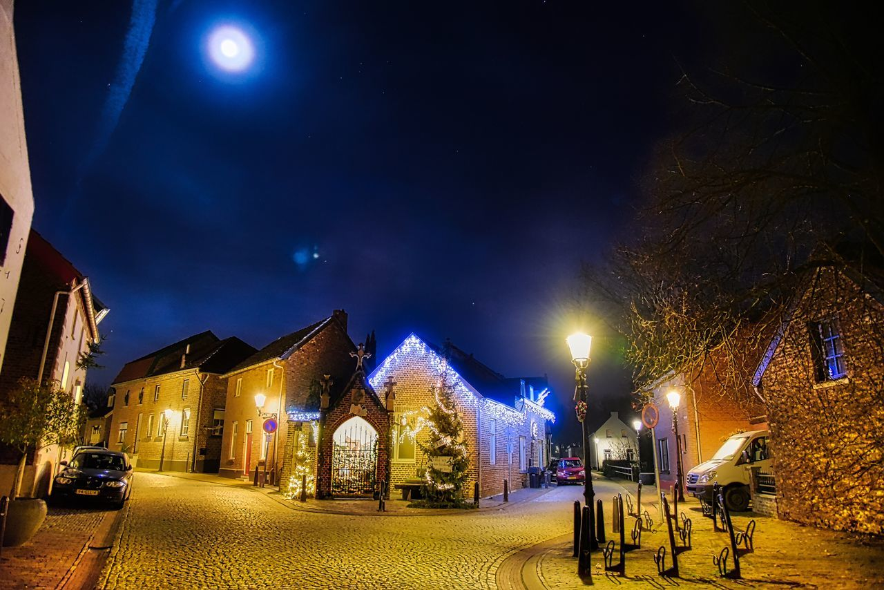 Outdoors Illuminated Christmas Tree Christmas Decorations Architecture Historical Sights Historic Chapel Christmastime Old Buildings Kitsch Streetlights Beautiful Elsloo The Architect - 2016 EyeEm Awards