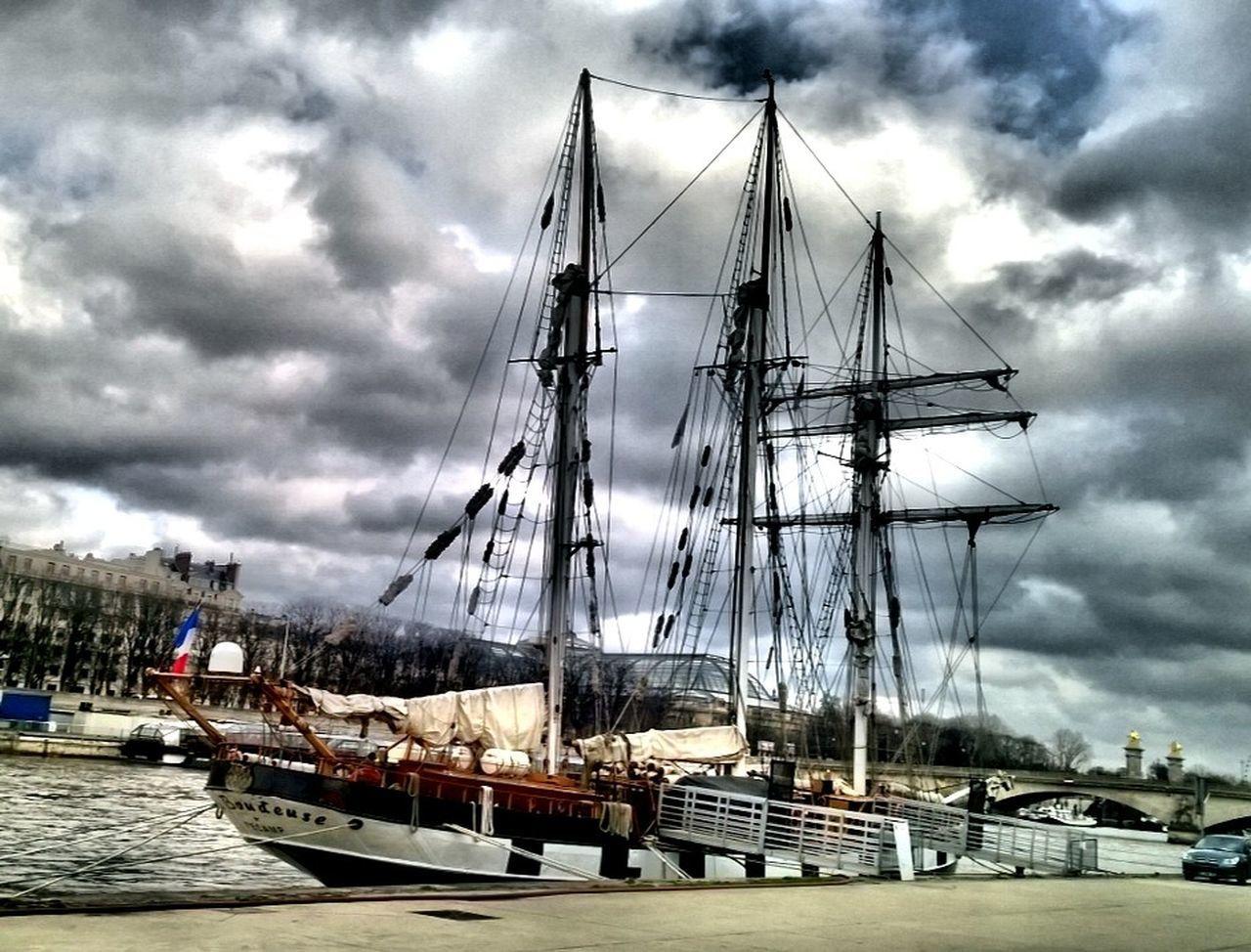 nautical vessel, cloud - sky, transportation, mode of transport, mast, sky, moored, boat, water, sailboat, harbor, sailing ship, outdoors, day, sailing, sea, ship, tall ship, nature, no people, travel destinations, yacht