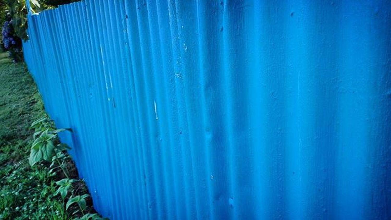 Paintedfence Blue 9vaga_colorblue9 Corrugatediron Fence