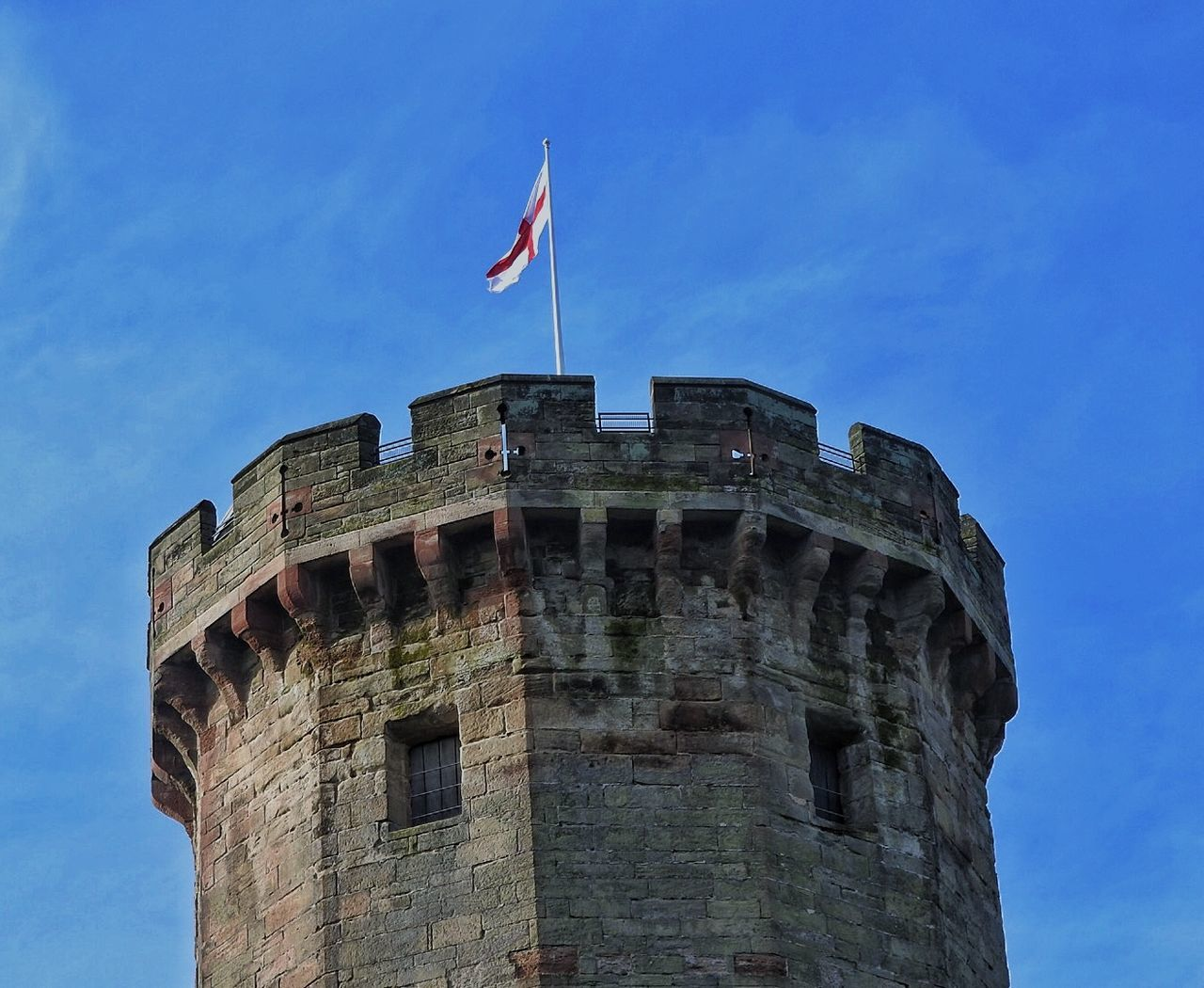 Ancient Architecture Battles Blue Sky Building Exterior Clear Clear Sky Culture England Famous Famous Place Famous Places Flag Historic Historical Building History Kings Lookingup Old Ruin Outdoors Tower Tower And Sky Warwick Warwick Castle Warwickshire