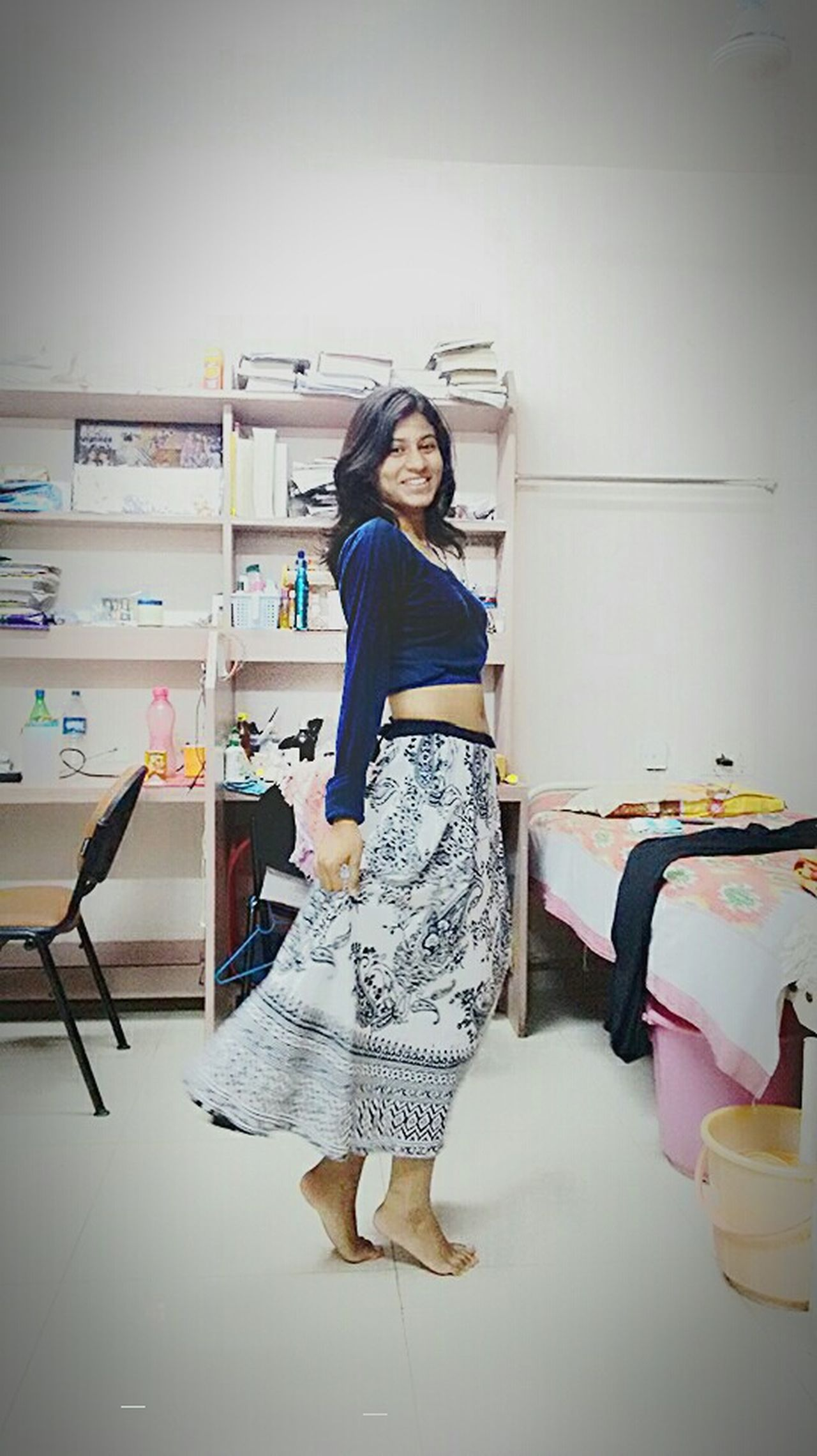 Blue Taking Photos That's Me Crop Top Ethinic Fusionculture Hand-made Silky Hair Dimples&Smile Womensfashion Potrait Of Woman Potrait_photography Waist Dance Photography Indian Culture  Indianstyle Khadi Printing Smile Is The Best Make-up A Girl Can Wear