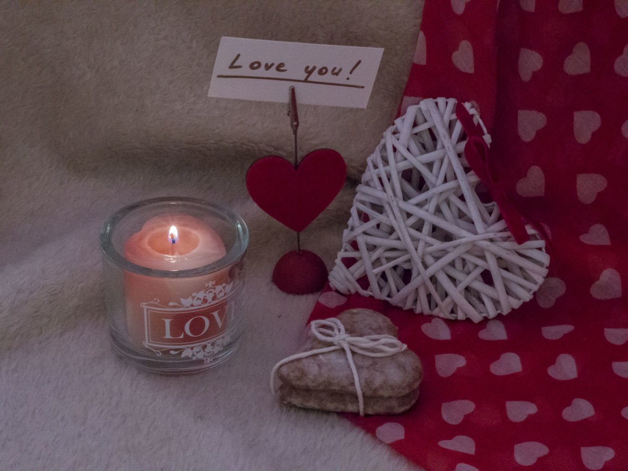 Valentine's day decoration Background Candle Candlelight Celebration Celebration Christmas Decoration Close-up Confession Day Gift Gingerbread Cookie Heart Holiday Indoors  Love No People Red Ribbon Tradition Valentine's Day  White