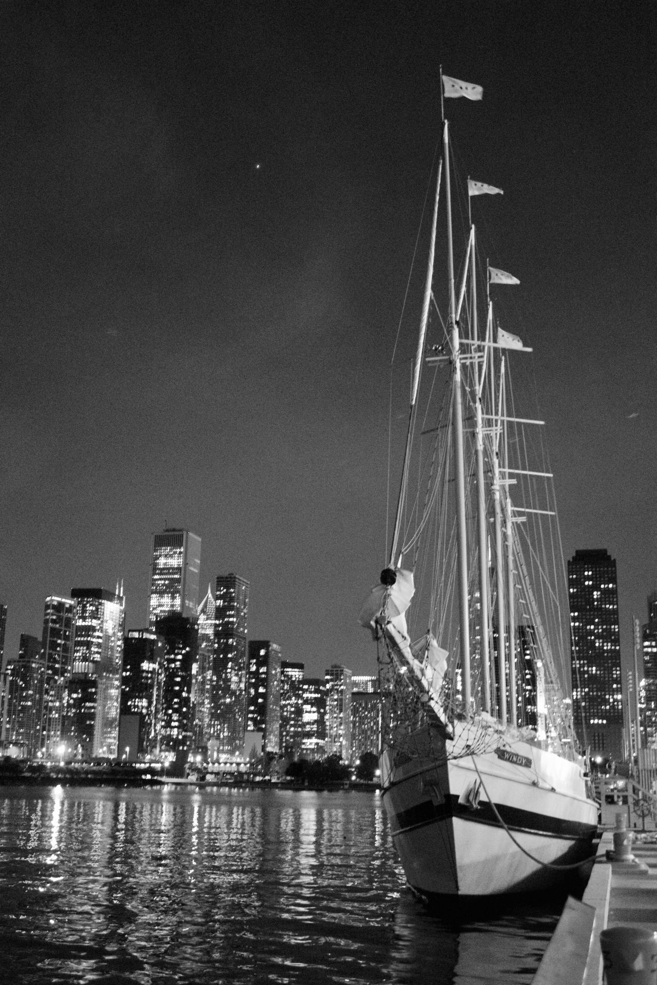 Black And White Photography Cityscape From The Pier Nighttime Nighttime Cityscape Sailboat Sailboat At Night Skyline Skyline Chicago