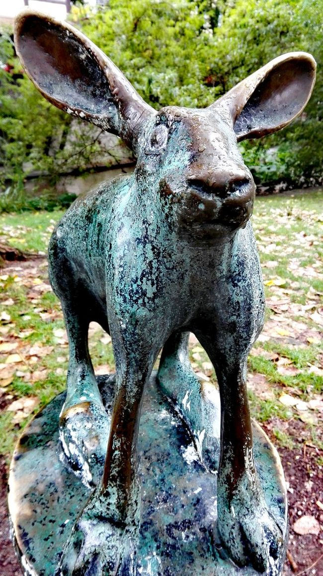 Sculpture Bronce Rabbit 🐇 Art And Craft Arts Culture And Entertainment Autumn🍁🍁🍁 Green Green Green!  Erfurt Autumn 2016 September 2016 The Places I've Been Today Mühlhausen Focus On Foreground Bokeh Animals In The Wild