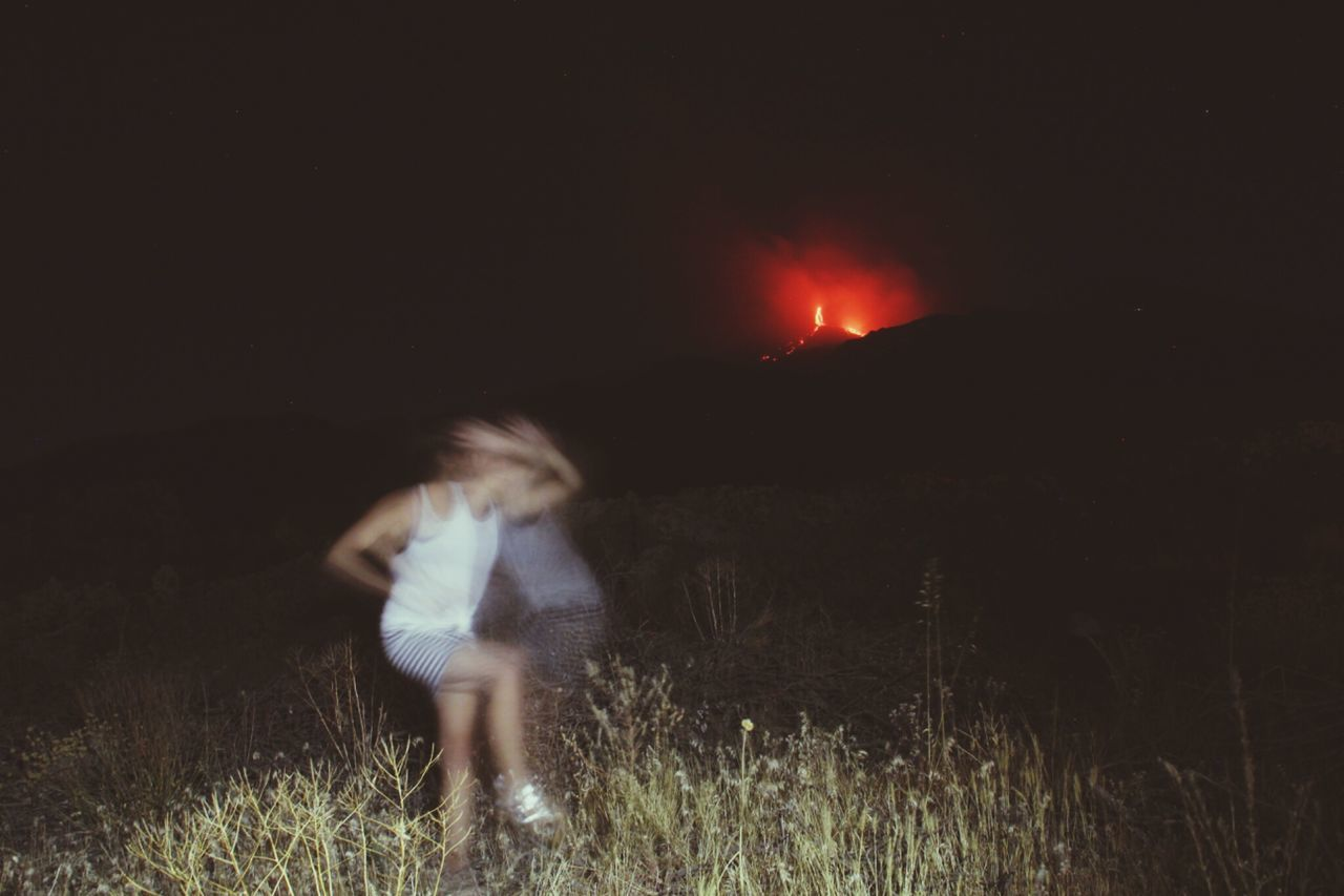 Volcano Etna Sicily Summertime Playing With Pictures. TribalDance Nightphotography