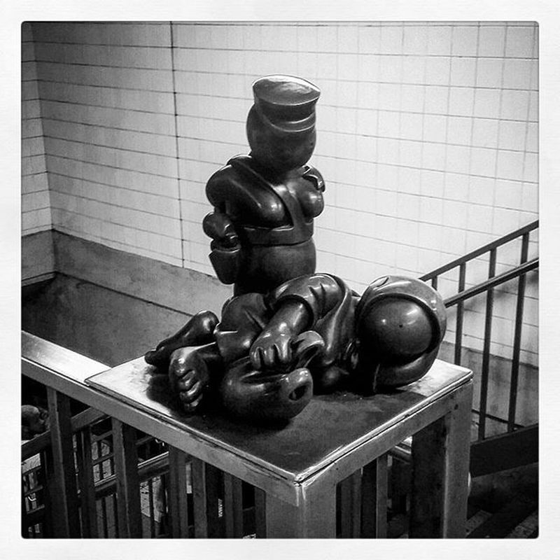 Move along... Subwayart Newyork NYC Subway Unitedstates USA Sculpture Art Blackandwhite Bandw Blackandwhitephotography Blackandwhiteofinstagram 14thstreet