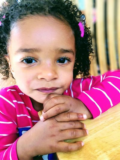 African American Children Childhood Close-up Cute Girls Happiness Looking At Camera Toddler Girl