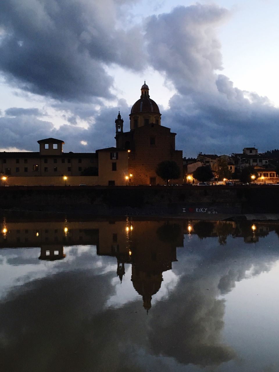 architecture, sky, cloud - sky, reflection, built structure, building exterior, water, history, illuminated, outdoors, no people, city, day