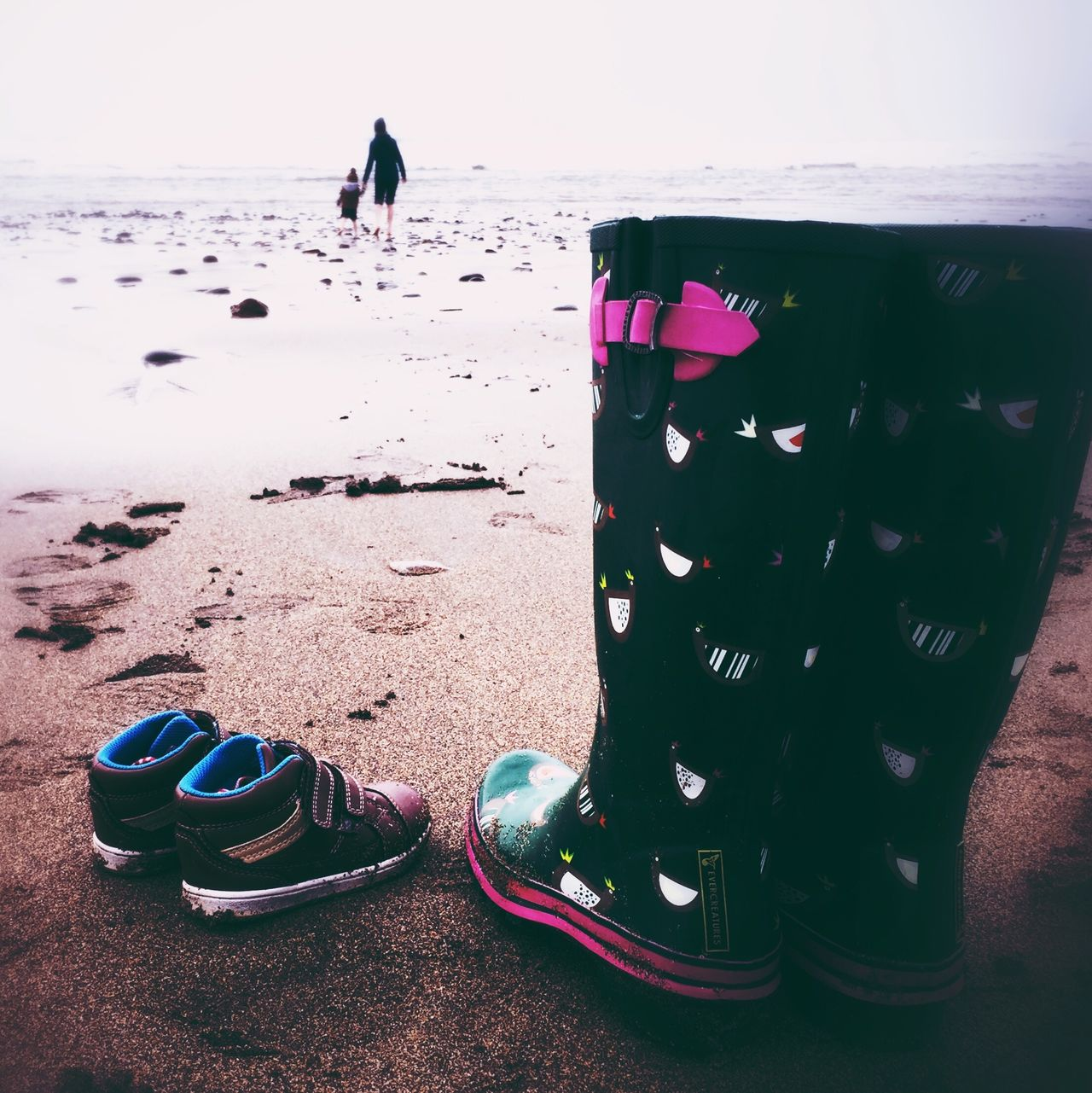 Widemouth Bay, Bude People And Places Outdoors Tranquility Season  Beauty In Nature Remote Non-urban Scene Nature Travel Destinations Unrecognizable Person Sea Beach Wellington Boots Holding Hands Mother And Son Remote Location Idyllic Vacations