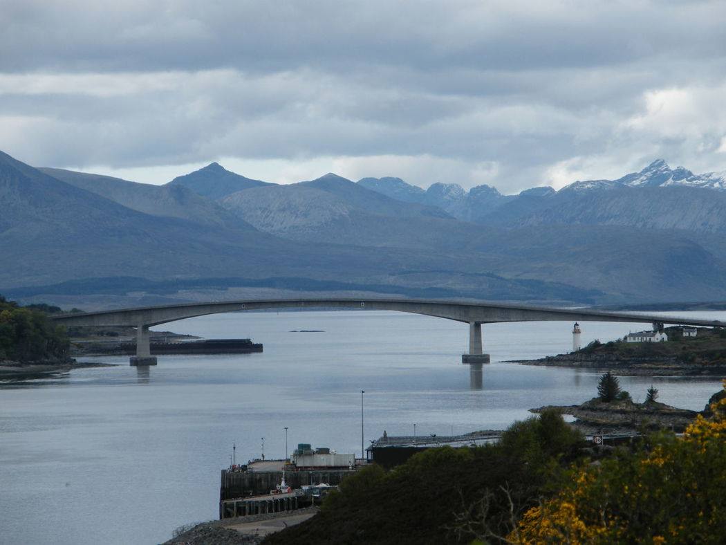 Architecture Bridge - Man Made Structure Built Structure Connection Day Eilean Ban Isle Of Skye Kyle Of Lochalsh Lighthouse Nature No People Outdoors Scotland Sea And Mountains Sky Skye Bridge Water Cuillins The Cuillins