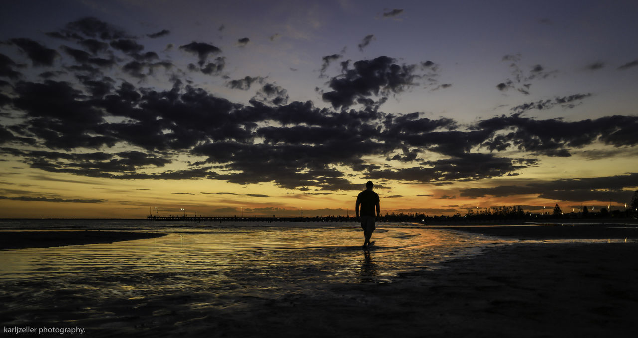 walking home. Beach Beauty In Nature Cloud - Sky Day Full Length Lifestyles Nature One Person Outdoors People Real People Scenics Sea Silhouette Sky Standing Sunset Tranquil Scene Tranquility Water
