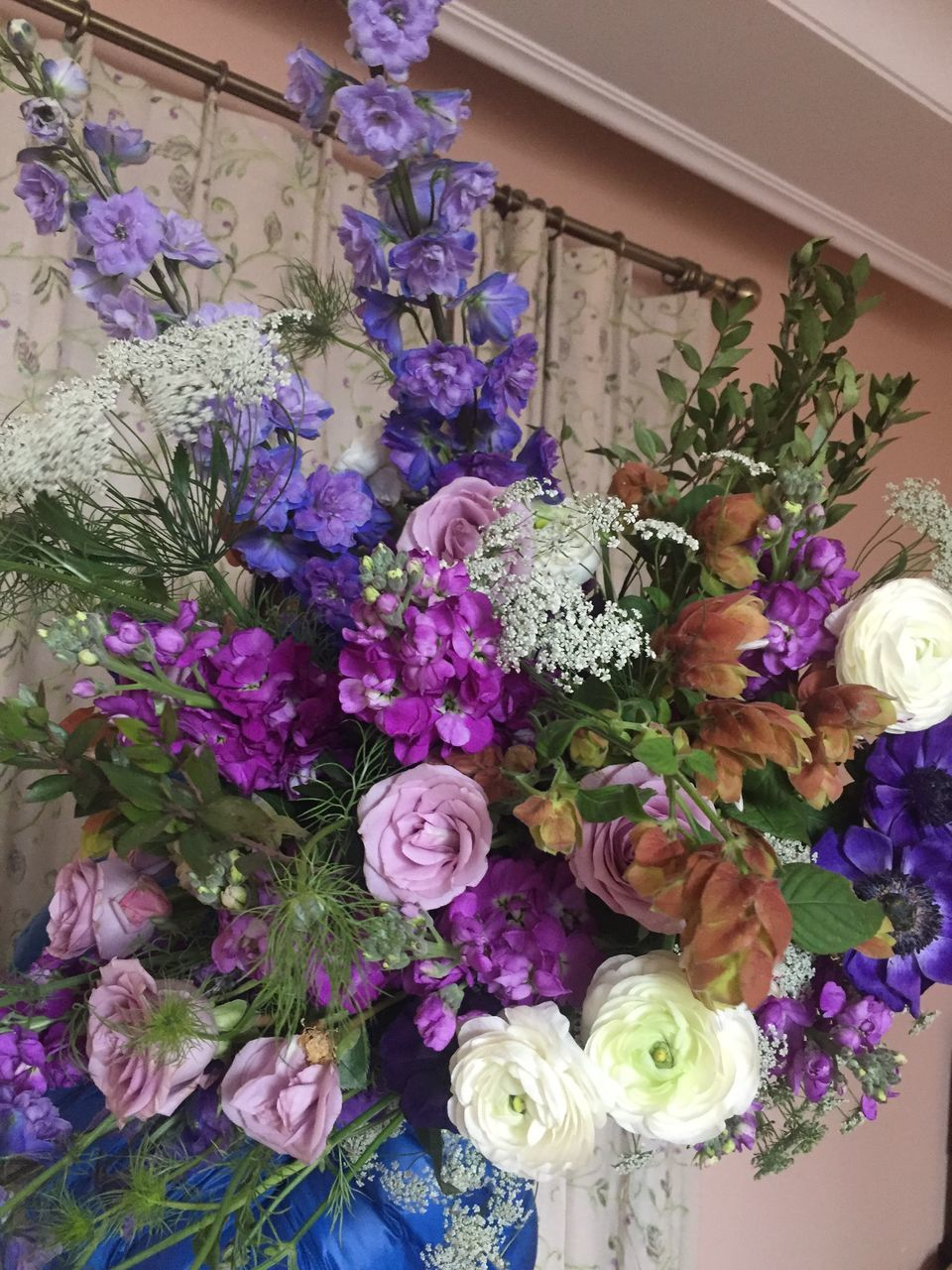 flower, bouquet, variation, fragility, indoors, flower shop, freshness, purple, beauty in nature, choice, retail, no people, multi colored, nature, leaf, day, flower head, close-up, florist
