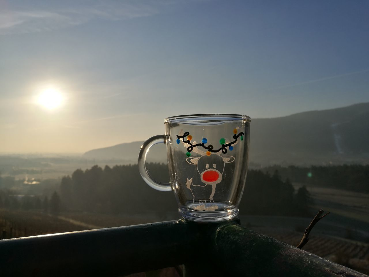 drink, refreshment, food and drink, no people, drinking glass, mountain, mountain range, sunset, close-up, scenics, water, outdoors, freshness, sky, nature, day