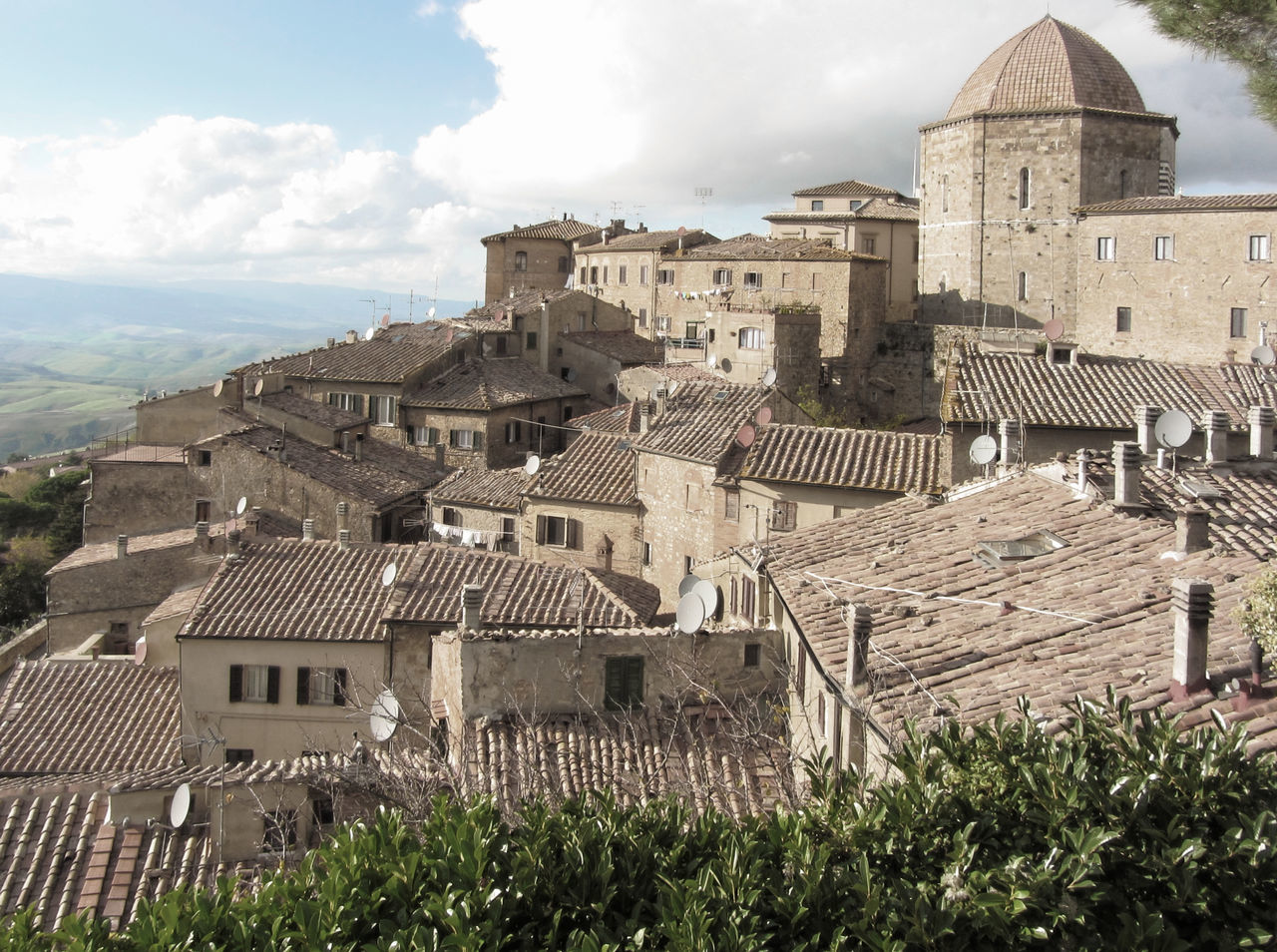 Panorama of Volterra village, province of Pisa . Tuscany, Italy Alabaster Ancient Antique Architecture Civilization Etruscan Hamlet High Hill Historic Italy Medieval Panorama Pisa Road Skyline Stony Tourism Tower Town Travel Tuscany View Village Volterra
