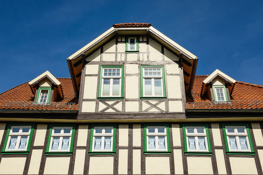 Buildings in Wernigerode, Germany. City Wernigerode Architecture Blue Building Exterior Buildings Built Structure Day Harz Journey No People Outdoors Saxony Anhalt Sky Tourism Town Travel Destinations Vacation