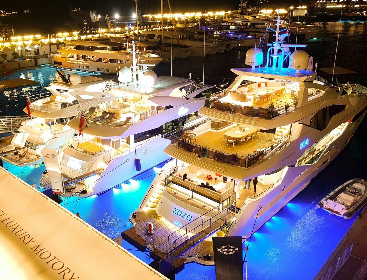 Monaco Yacht Show, Monaco Illuminated Luxury Night Yacht Yachts Yachting Monacoyachtshow Monaco