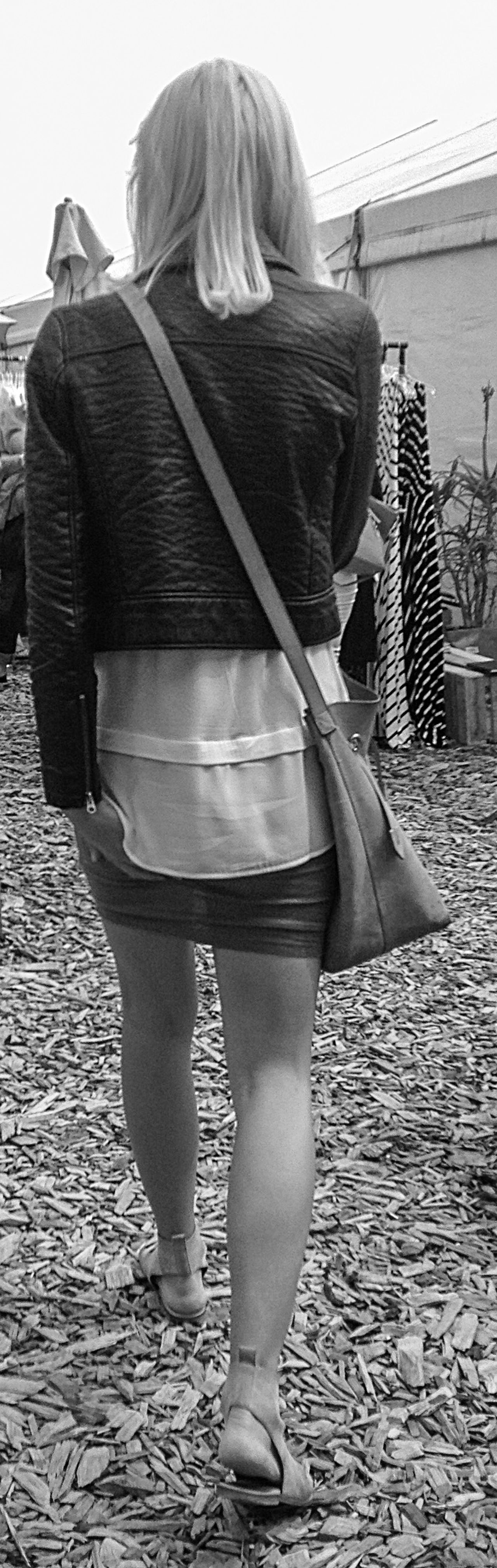 Blackandwhite Candid Cropped Full Length Leather Jacket Legs Rear View Sandals Streetfashion Streetphotography
