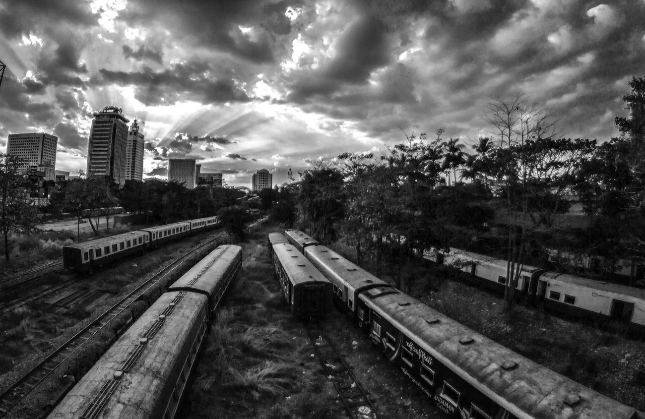 Evening Of Yangon.......... Central Railwaystation Yangon Rays Sunlight Neag Photography Blackandwhite Cloudy Main Transportation Lifes