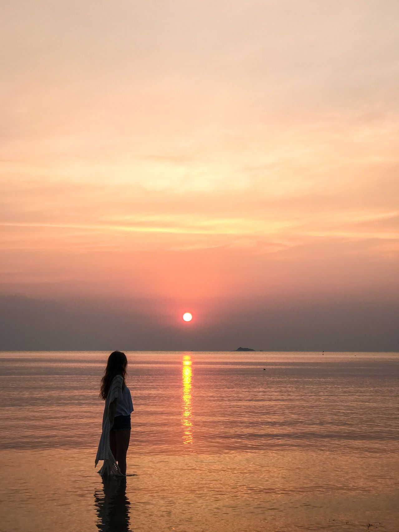 Adult Adults Only Beach Beauty In Nature Colors Horizon Over Water Nature Nature One Person One Woman Only Only Women Outdoors People Real People Relaxation Scenics Sea Silhouette Sky Standing Sun Sunset Tourism Tranquility Water