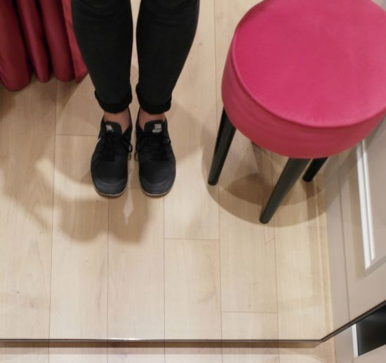 Low Section Indoors  Human Leg Stool Adults Only Shoe Adult One Person Human Body Part Out Of The Box Casual Clothing People Of EyeEm Mirror Simple Things In Life Simple Moment Capture The Moment Ordinary Scene Simple Photography From My Point Of View Life Style Shoe Scenics Red Pink Pink Color