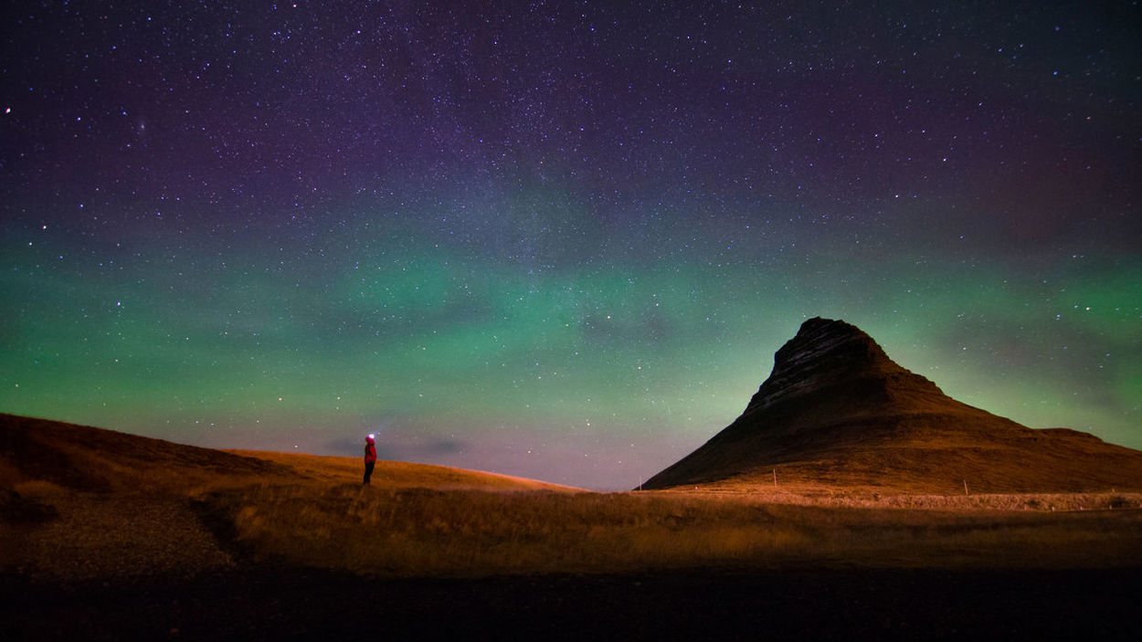 Astronomy Aurora Borealis Beauty In Nature Cliff Dark Exploration Galaxy Getting Away From It All Green Color Iceland Idyllic Landscape Majestic Mountain Nature Night Non-urban Scene Outdoors Remote Scenics Sky Solitude Space Star - Space Star Field Fresh On Market 2016