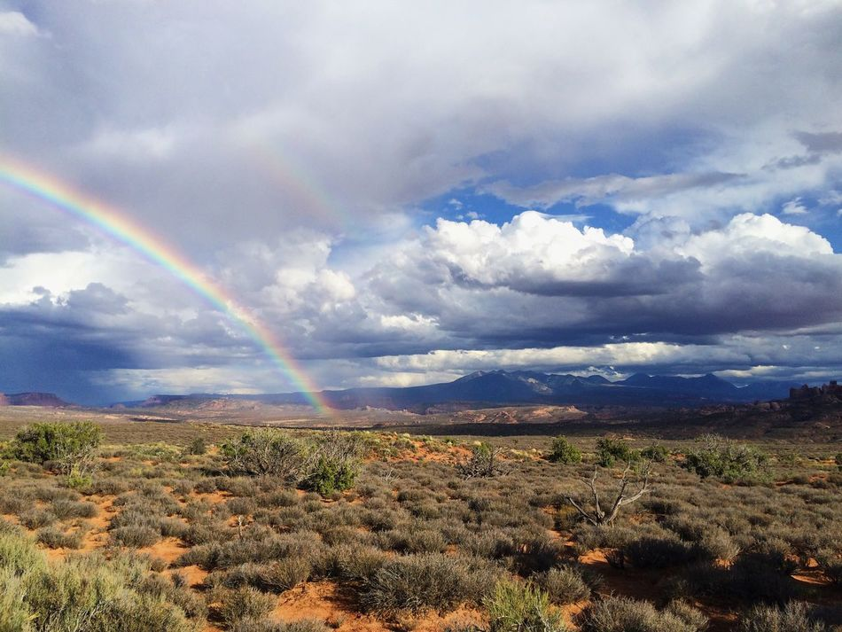 Rainbow at Arches National Park following an afternoon thunderstorm. Moab  Utah Arches National Park, Utah Rainbow