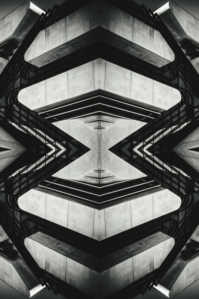 Architecture Built Structure Architectural Feature Art Blackandwhite Modern Kaleidoscope Black And White Architectural Detail Geometric Shape Symmetry Design Monochrome EyeEm Best Shots EyeEm Gallery TakeoverContrast Angles And Lines