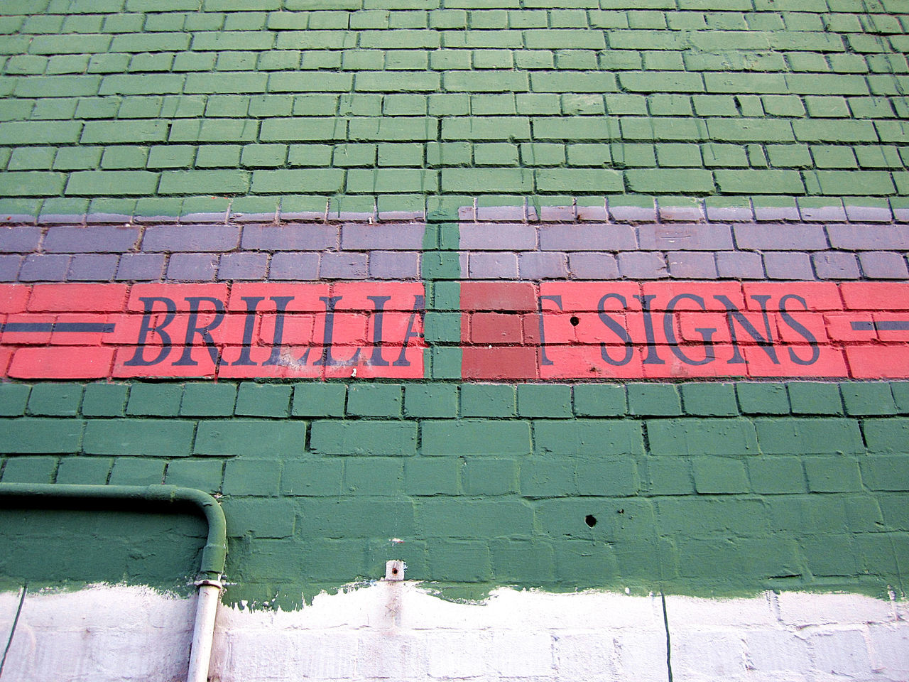 Backgrounds Brick Wall Brilliant Built Structure Graffiti Green Irony Multi Colored Shop Sign Signs Surface Text Wall - Building Feature Fail TakeoverContrast