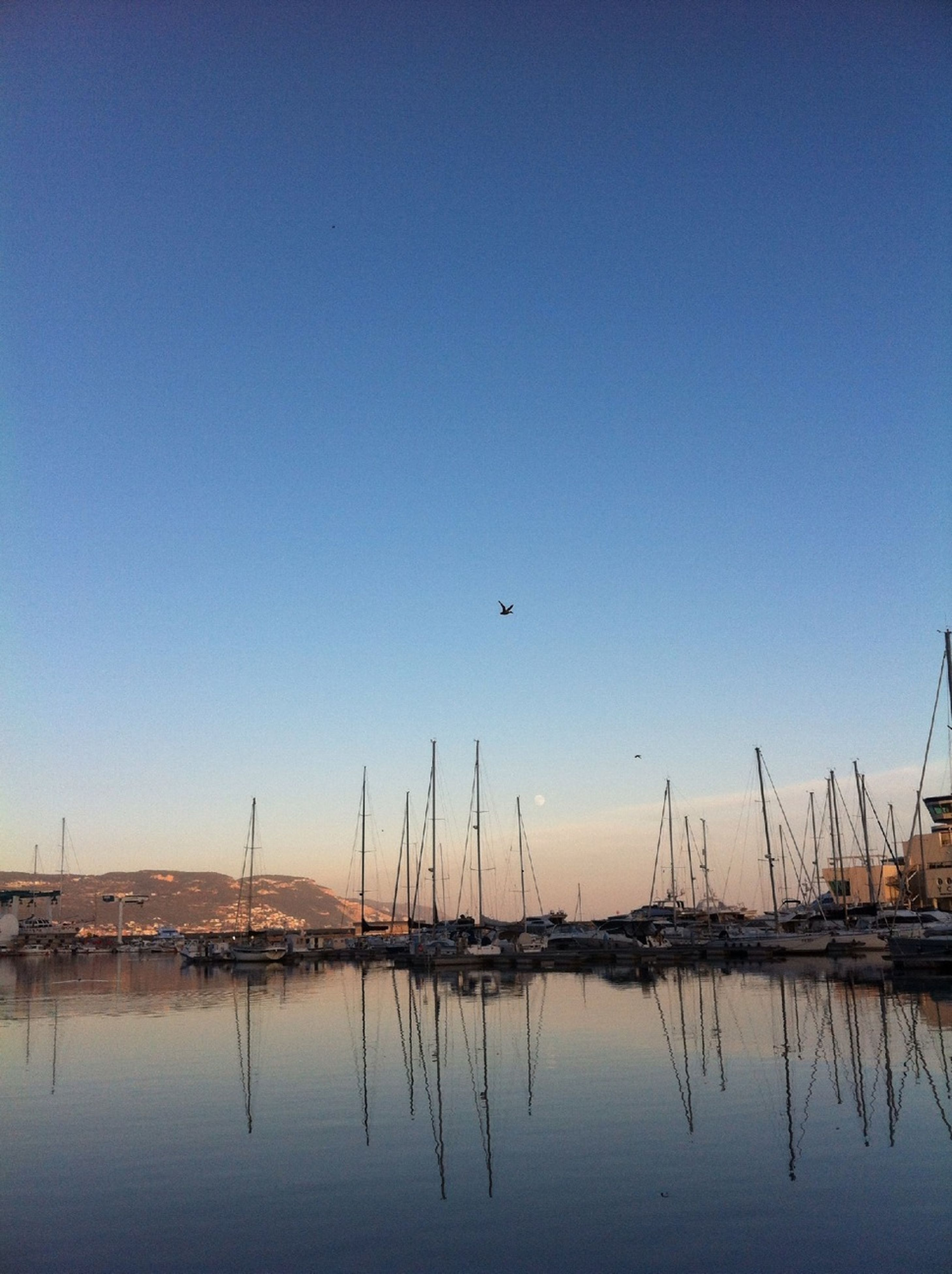 water, clear sky, copy space, reflection, waterfront, nautical vessel, blue, tranquil scene, tranquility, transportation, scenics, nature, sea, lake, beauty in nature, boat, sailboat, mode of transport, sunset, moored