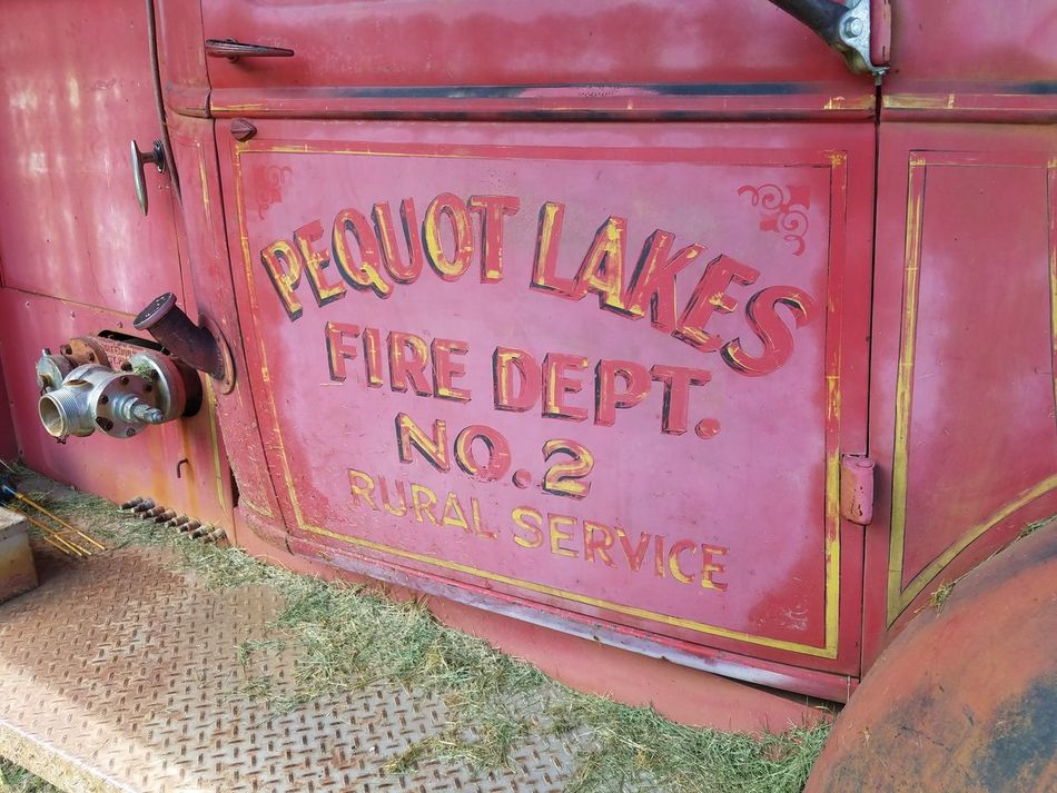 Vintage Firetruck Pequot Lakes Faded Red Paint Days Gone By Firefight Minnesota History