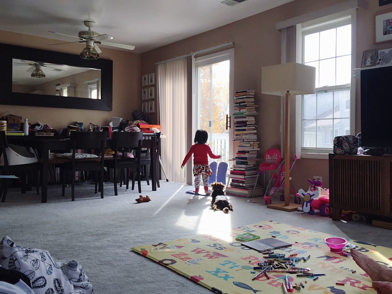 Living Room Indoors  Domestic Life Lifestyles Full Length Standing Home Interior Toddler  Toddlerlife Peaceful Insidelookingout Playing People Day