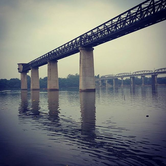 Mahisagar River Bridge Railbridge Mirrorimage Pillars Xpro Instafilter S6shot Cloudyday Climate SwachhBharat MuchNeeded TBT  Holyspirit Holywater  Hopeforthebest Jaimataji Mahisagarmata Vibrantgujarat Vasad