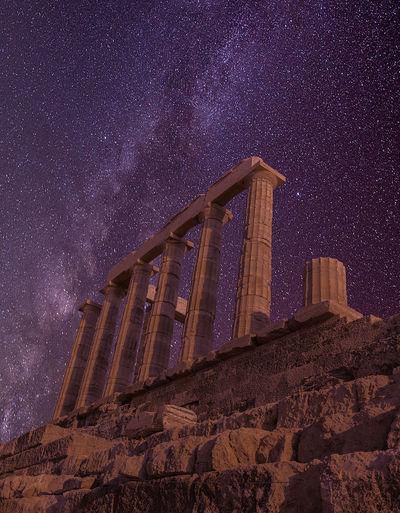 Ancient Architecture Architecture Ellada  Greece Hellas Landmark Low Angle View Milky Way Milky Way Galaxy Milkyway Night Nightscape Nightsky Poseidon Poseidon Temple Remains Ruins Sky Sounio Starry Starry Night Stars Temple