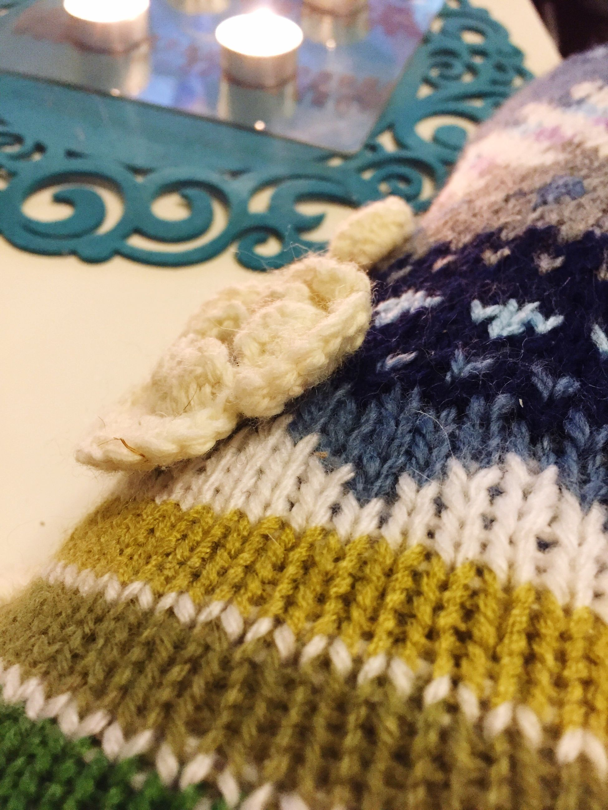 indoors, close-up, knitted, no people, day