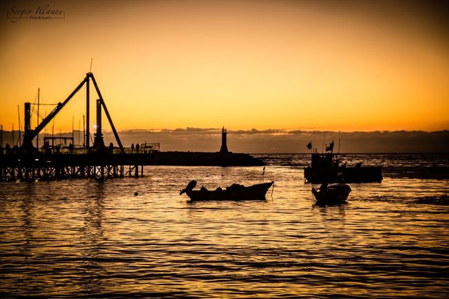 Sunset Nautical Vessel Transportation Mode Of Transport Water Sky Sea Beauty In Nature Tranquil Scene Outdoors Scenics Waterfront Silhouette Nature No People Horizon Over Water Canonphotography Chile Antofagasta Boat Sunset