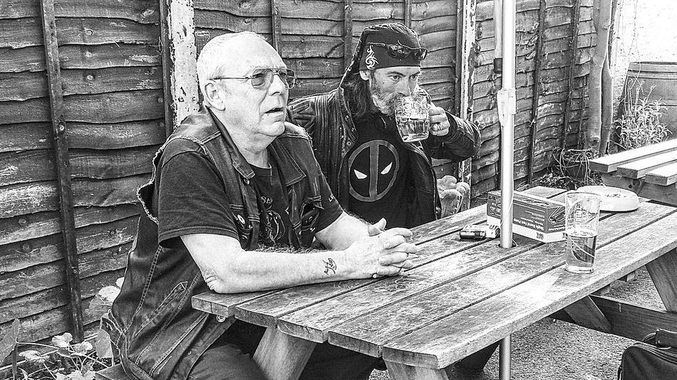 Tim and Daryl xxxxxxx Nefilian Xxxxxxx Blakck And White Leather Jacket Deadpool Cans Bikers Bandana Cutoff Friends Men Beer Pubs X