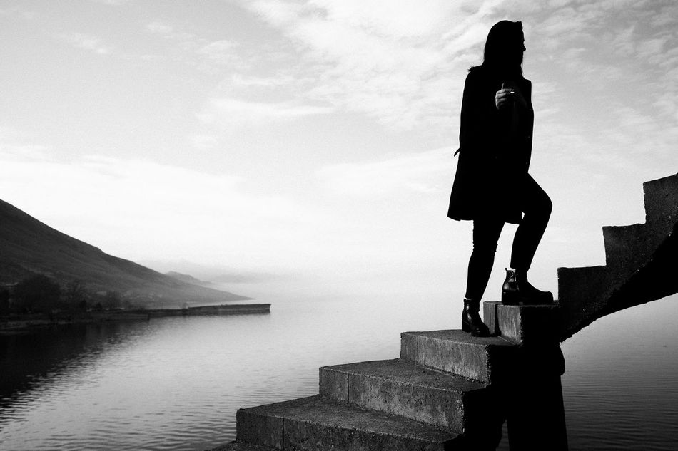 One Person One Woman Only Lake Outdoors Only Women People Full Length Adventure Adult Courage Adults Only Young Adult Day Sky Bridge - Man Made Structure Water EyeEmNewHere Welcome Weekly