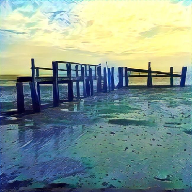 Edited Photos Edited Photography Prisma Creating ArtWork Art Amrum Steenodde Schleswig-Holstein Germany Cloud Clouds And Sky Morning Sky Bridge Landing Stage Wadden Sea Ebbe Tide Painting Yellow Blue Summer Outdoors Fine Art Photography My Unique Style