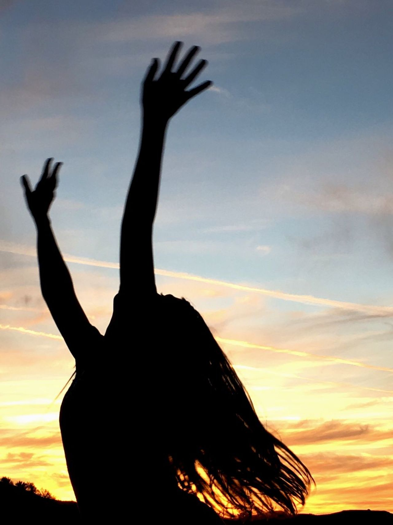 Silhouette Arms Raised Sunset Sky Leisure Activity One Person Outdoors Human Arm Human Body Part Real People Close-up Human Hand Day One Woman Only Nature Young Adult People Freestyle Low Angle View Tranquil Scene Tranquility Be Yourself ExpressYourself Just Dance Sunset Dancing