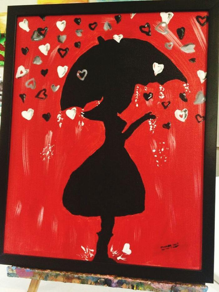 Valentine's Painting done at Brush Strokes in Tustin, Ca. Red Black White Raining Girl Sillouette Heart Hearts Canvas Tustin Calif Brush Strokes