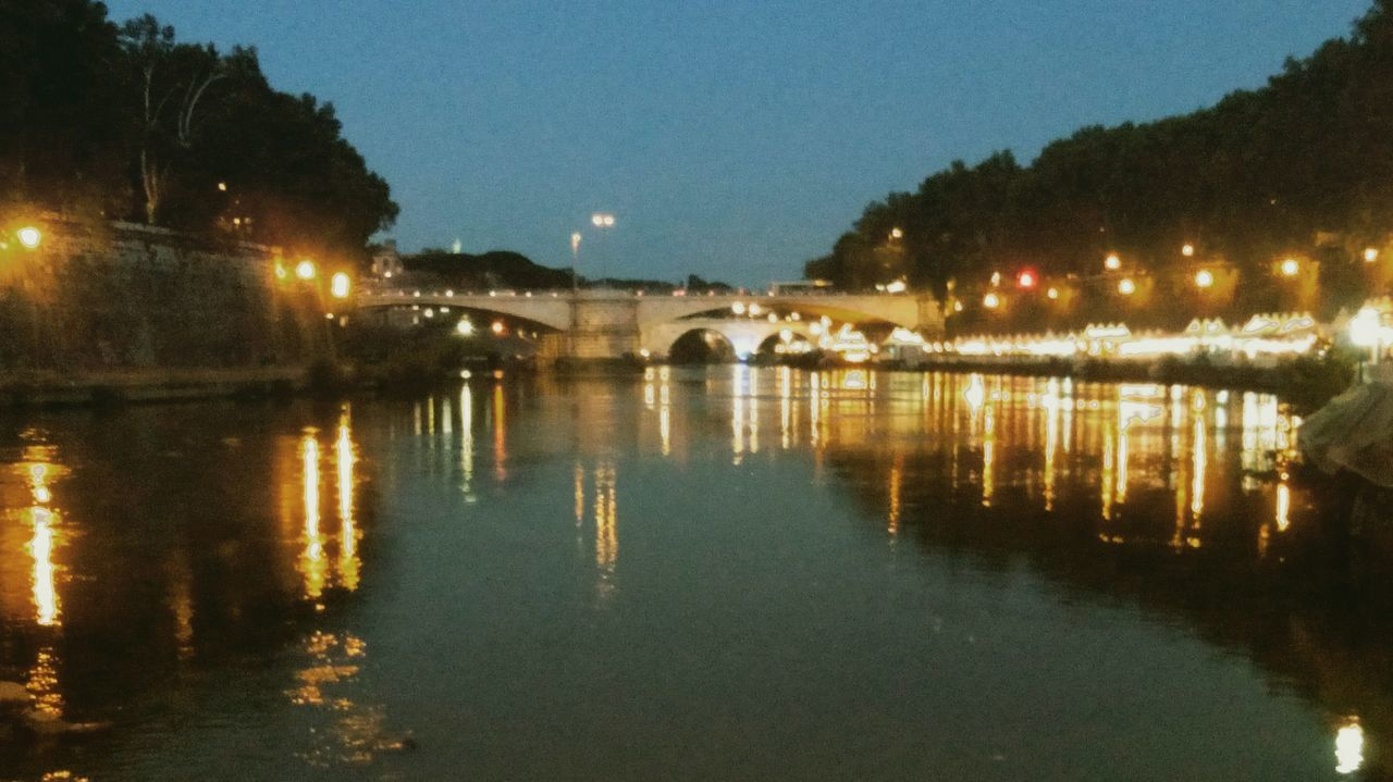 Reflection Water Illuminated City Bridge - Man Made Structure Built Structure Architecture No People Night Storical Place River View Roma Rome River Tiber River Travel Bridge