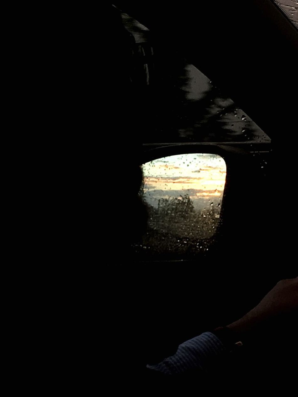 End of holidays. One Person Human Hand Nature People Close-up Day In The Car Driving Home Driver Reflections Reflection_collection In The Mirror Car Mirror Rain Rain Drops Sunset Spring Easter Holidays Long Goodbye Long Goodbye